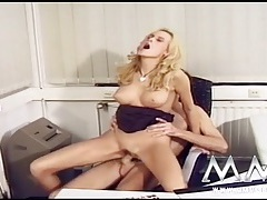 Skinny mom squirts from big cock fucking tubes