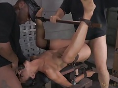 Spreader bar and bondage makes her easy to fuck tubes
