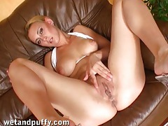 Bikini babe with a soaked cunt fills it with a toy tubes