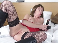 Mom fucks her dildos and gets super wet tubes