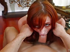 Redhead in a sexy bra gets throat fucked tubes