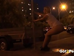Drunk girl drops her shorts and pees in public tubes