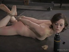 Hogtied slave eats food off the floor on command tubes