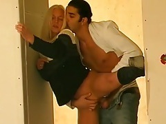 Blonde up against a wall and fucked doggystyle tubes