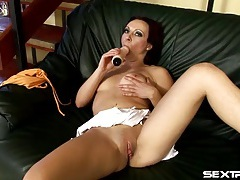 Juicy pussy opens up for a thick dildo tubes