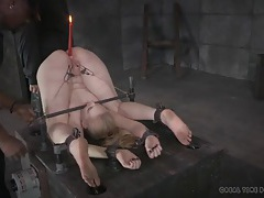 Lit candle in the asshole of a bound girl tubes