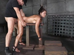 Ava dalush spit roasted in a bondage threesome tubes