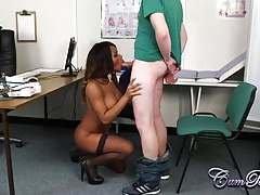 Hot black nurse in stockings blows a patient tubes
