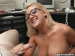 Curvy nerd with amazing big tits jerks off a dick tubes