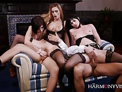 Three hot lingerie girls give up their holes to big dicks tubes