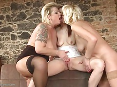 Mature ladies suck young tits and eat her cunt tubes