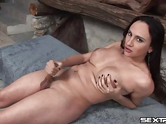 Big butt solo shemale strokes her uncut cock tubes