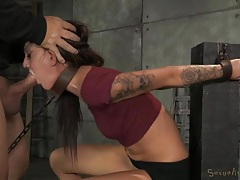 Cutie chained in the basement and mouth fucked tubes