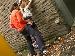 Passionate couple has incredible sex in an alley tubes