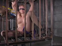 Tattooed slave girl played with in a cage tubes