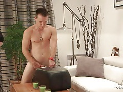 Big cock hottie lubes up and uses a new sex toy tubes