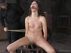 Light caning makes the girl cry out in pain tubes
