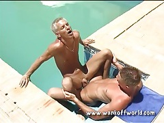 Hot boy ass rimmed and fucked in the pool tubes