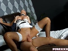 Slutty french maid with fake tits fucked passionately tubes