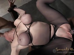 Cocks fuck the tied up slut from both ends tubes