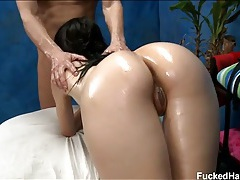 Skinny hottie coated in oil and fucked hard tubes