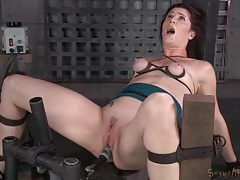 Small tits are tied up as guys fuck her face tubes