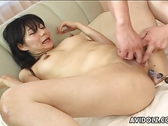 Anal beads up her lubed japanese asshole tubes