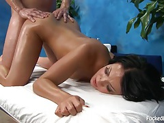 Beauty with an oiled booty fucked from behind tubes