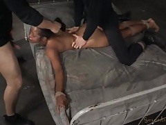 Sex slave bound to the bed and fucked hard tubes