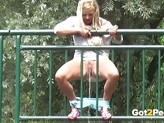 Curvy ass blonde caught pissing in public tubes