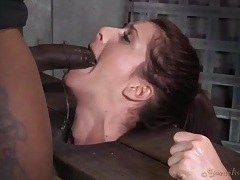 Nipple clamps hang off the tits of a face fucked slut tubes