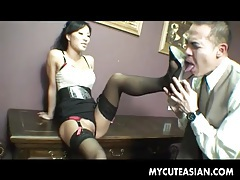Dominant asian demands he worship her pussy and feet tubes