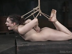 Hogtied girl suffers from foot abuse tubes