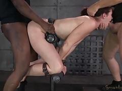 Big booty slut in bondage gets fucked up the butt tubes