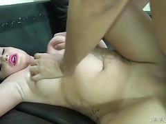 Sloppy wet pussy girl in pink lipstick gets laid tubes