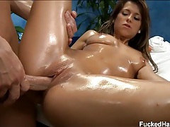 After massage hardcore sex with an oiled babe tubes