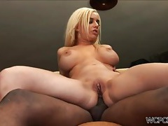 Nice fake boobs on a sexy white girl taking bbc tubes