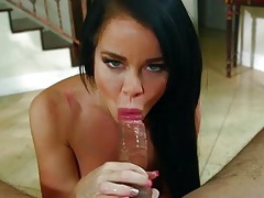 Dark haired beauty sucks and slobbers on his dick tubes