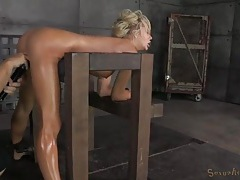 Milf bent over in bondage and fucked by two guys tubes