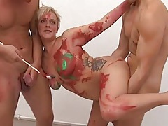 Curvy slut takes dicks from her house painters tubes