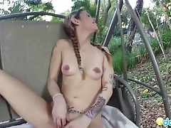 Naked gf in the backyard gives a hot blowjob tubes