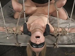 Rope bound and blindfolded girl used by two dicks tubes
