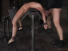 Flexible girl bent over backwards and face fucked tubes