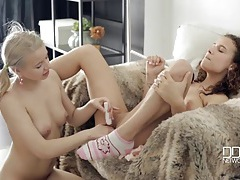 Anal pleasure bead sex with two sexy lesbians tubes