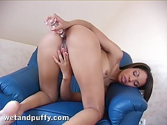 Glass toy in the booty of a cute solo girl tubes