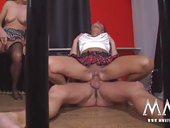 Foursome with a pair of pierced pussy matures tubes