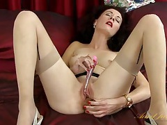Seamed stockings and heels on a leggy milf tubes