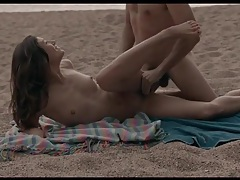 Romantic sex on a beach with a beautiful brunette tubes