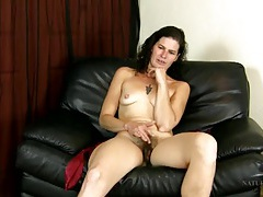 Cute and hairy milf talks as she hangs out naked tubes