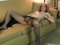 American milf lacy strips off and masturbates in pantyhose tubes